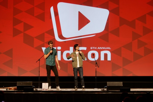 ANAHEIM, CA - JULY 23:  YouTubers Rhett James Maclaughlan (L) and Charles Lincoln 'Link' Neal of 'Rhett and Link' perform at #VidCon at Anaheim Convention Center on July 23, 2015 in Anaheim, California.  (Photo by FilmMagic/FilmMagic)