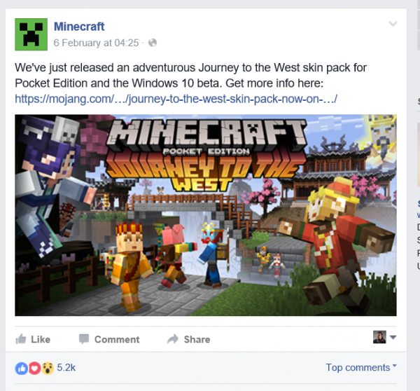 Minecraft announcements on Facebook