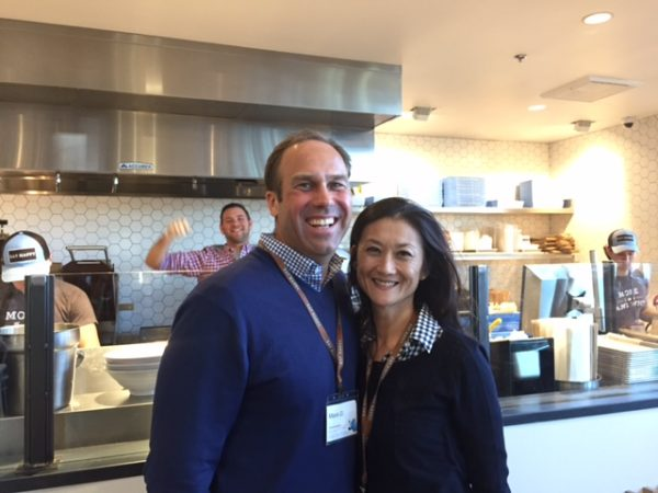 Mendocino Farms' husband and wife founders, Mario Del Pero and Ellen Chen. #EatHappy Nice photo bomb :)