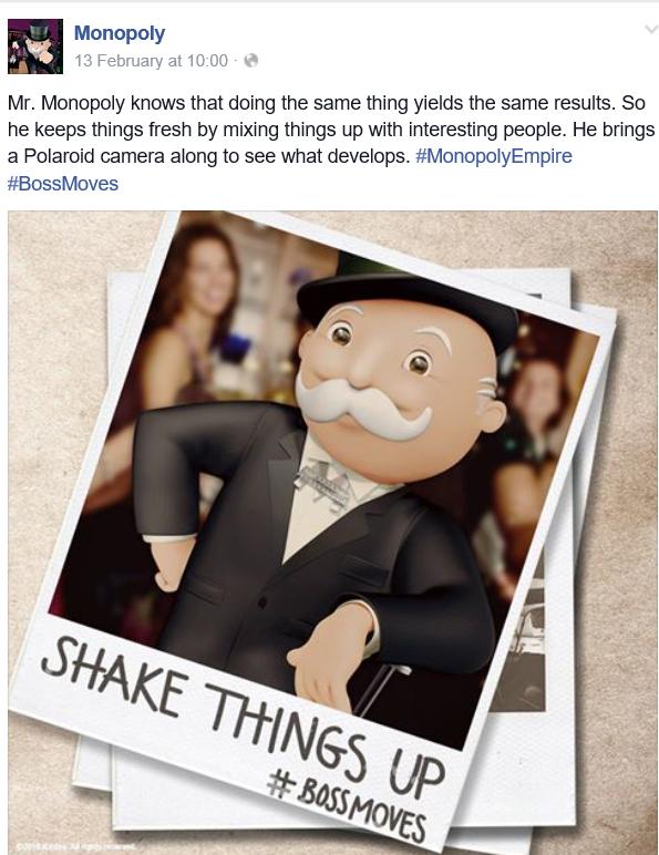 Mr Monopoly Brand on Social Media
